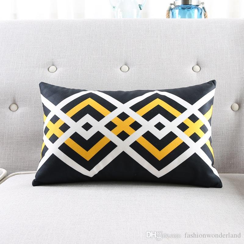 Moderne Coussin Géométrique Couvre 5 Styles Triangles Noirs et Jaunes Doux Oreillers Cas 45X45cm 30X50cm Canapé Chambre Décoration