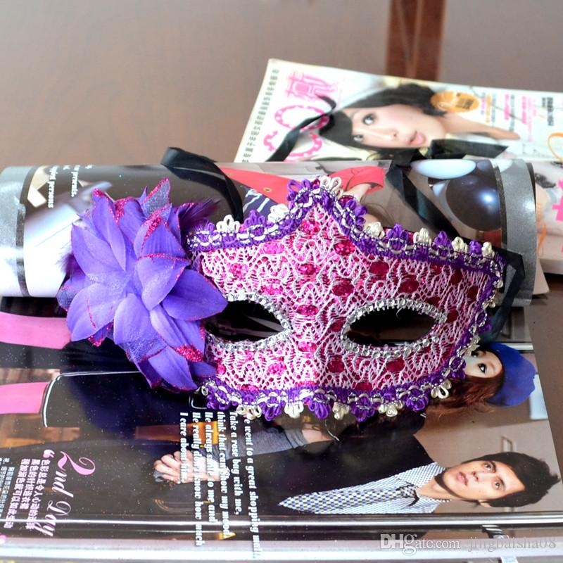 New Exquisite Lace Rhinestone Leather Mask Masquerade Halloween Party Flower Princess Mask For Lady Purple Red Black Gold Pink Silver White
