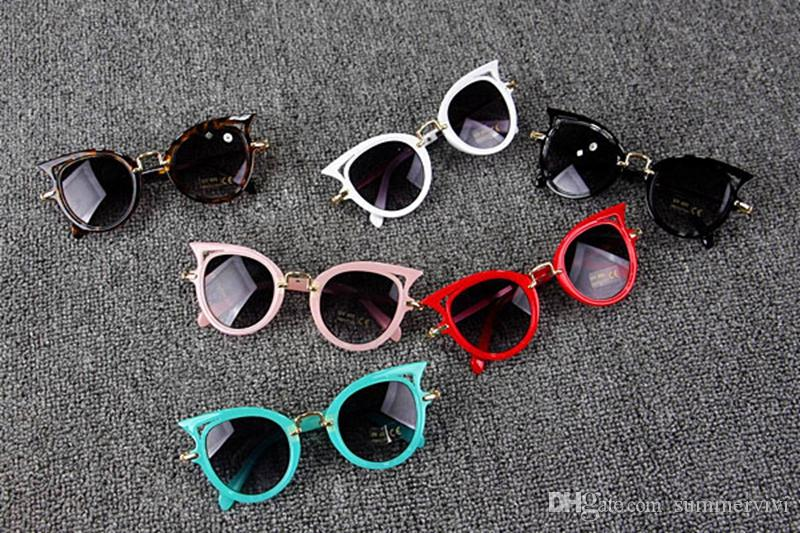 Baby Kids Sunglasses Girls Brand Cat ear Children Glasses Boys UV400 Lens Cute Eyewear Infant Shades Goggles kids beach protection T4781