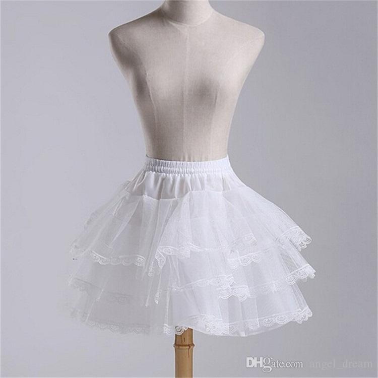الجديد التنورات الداخلية مجاني الأبيض الحجم Hoopless تنورة قماش قطني لالرسمية فستان الزفاف اكسسوارات الزفاف 3 طبقات بنات فستان قصير تحتية