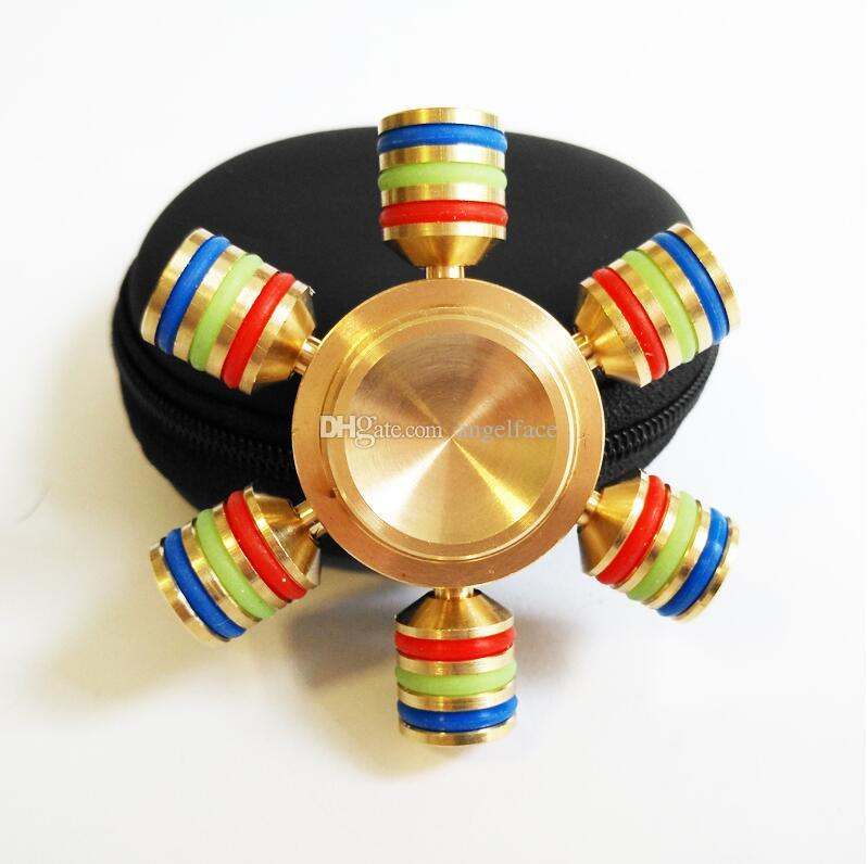Cuivre en alliage métallique hexagonal de mode EDC jouets spinner à la main professionnel Fidget Spinner autisme et ADHD anti-stress jouets avec cadeau boîte noire