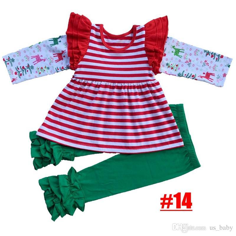 Baby Girl de Noël Boutique Tenues haute qualité filles en tête rayé cerf et fleurs Pantalon avec ensemble Ruffle