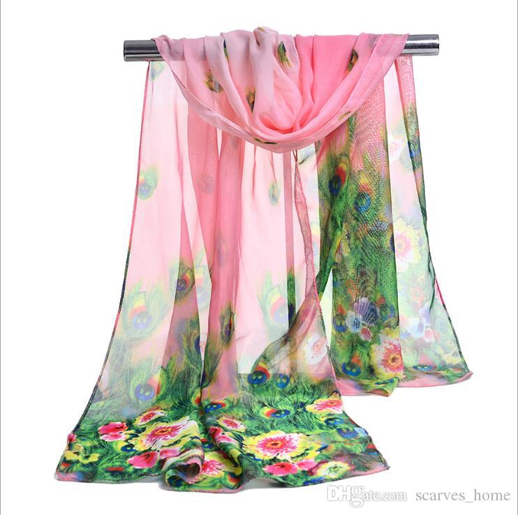 Factory Wholesale Silk Chiffon Scarf Long Woman Scarf Summer Pashminas For Women Florial Peacock Print Scarves 160*50cm DHL free