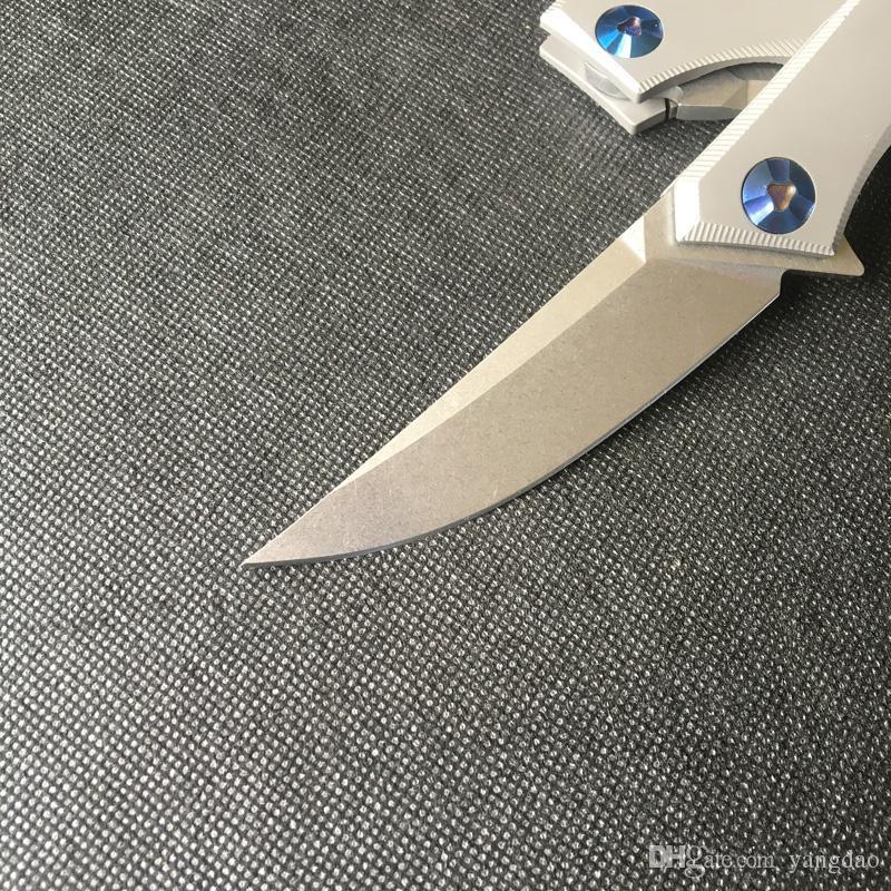 Livraison gratuite, Shirogorov poluchetkiy Nouveau rouleau de roulement rondelle pliant couteau Sanglier fait D2 acier avec poignée en titane, Vente en gros, au détail