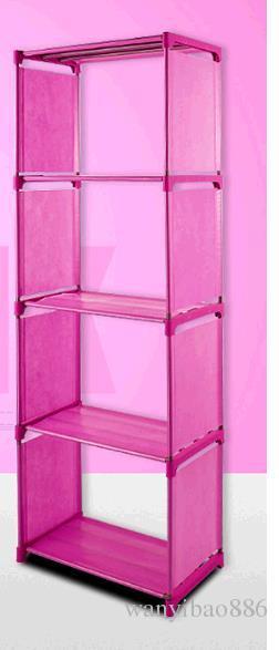 Venta caliente Al Por Mayor Barato Azul Rosa Gris Estante simple Estantería creativa combinación Muebles simples DIY Estante Sola fila 5 capas
