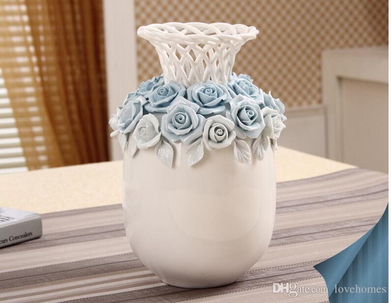 Bouteille moderne forme bleu blanc deux couleur vase en céramique vase en céramique de table pour la maison Hôtel Ofiice Club Decor LH22