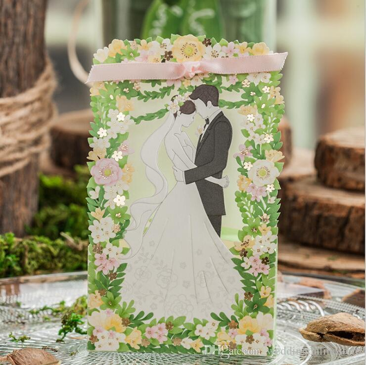 Laser Cut Hollow Flora Bride And Groom Wedding Dress Wedding Favor ...