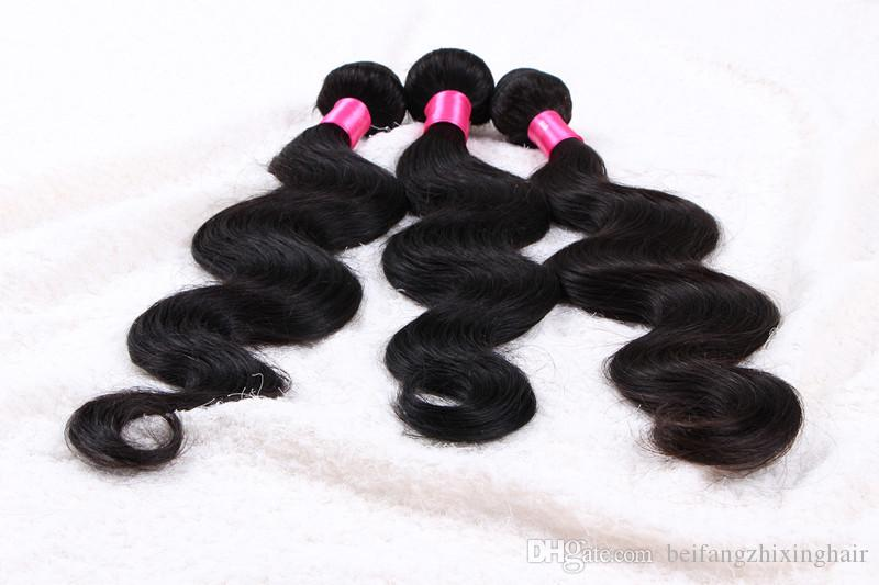 5a grade BW remy Hair Weave 14-24'' 1b# natural color 100g/pcs Malaysian Virgin Human Hair Extension Double Weft dhl