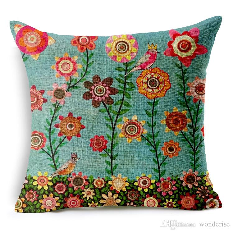 7 Styles Pastoral Flowers Trees Bird Cushion Covers Oil Painting Life Tree Floral Cushion Pillow Cover Sofa Linen Cotton Pillow Case Gift
