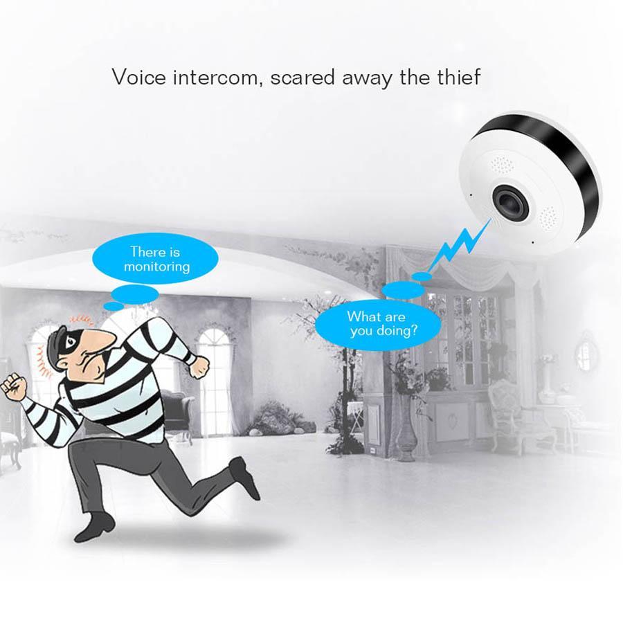 Cámara panorámica Fisheye VR HD 1080P 2.0MP Cámara inalámbrica con WiFi IP Seguridad para el hogar Sistema de vigilancia Cámara Wi-Fi 360 grados Cámara web V380
