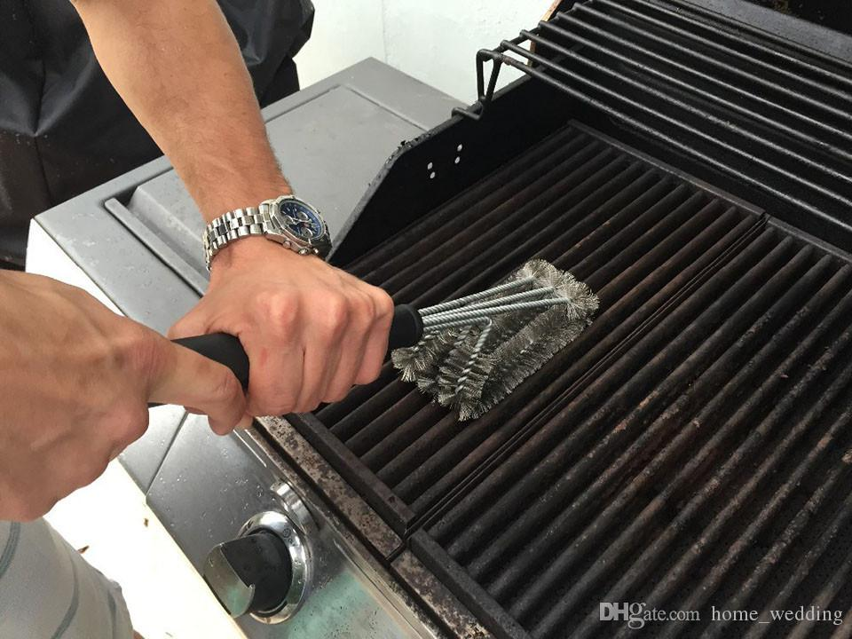 Barbecue Grill Brusher Cleaner Tools Accessories - Outdoor Kitchen Wire Bristles Cleaning Grates Parts Set to Handle Weber