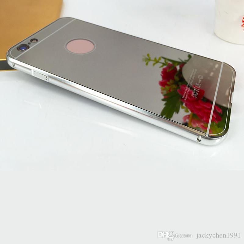 Más nuevo de lujo de metal de aluminio marco de parachoques delgado espejo de acrílico contraportada para iphone 6 6s 6splus 7 7plus