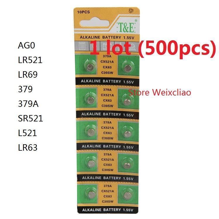 500 قطع 1 وحدة AG0 LR521 LR69 379 379A SR521 L521 LR63 1.55 فولت بطاريات زر خلية البطارية القلوية عملة شحن مجاني