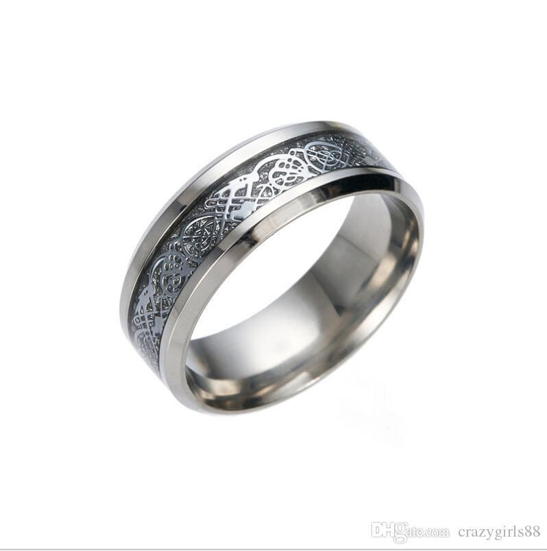 Novo Aço Inoxidável Prata Dragão De Ouro Projeto Anel de Dedo Anel de Dragão Chinês Banda Anéis para As Mulheres Homens Amantes Anel de Casamento