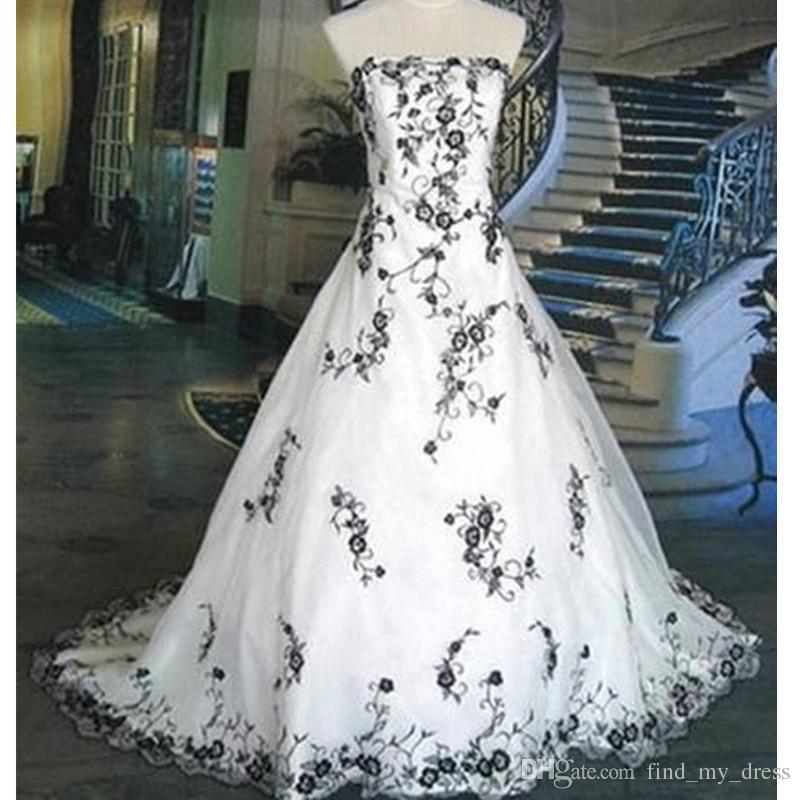 Novo Design US2-26W + + Branco e Preto Vestidos De Noiva Bordado Real Imagem Vintage A Linha De Vestido De Noiva Sem Alças Tamanho Personalizado Charme Top