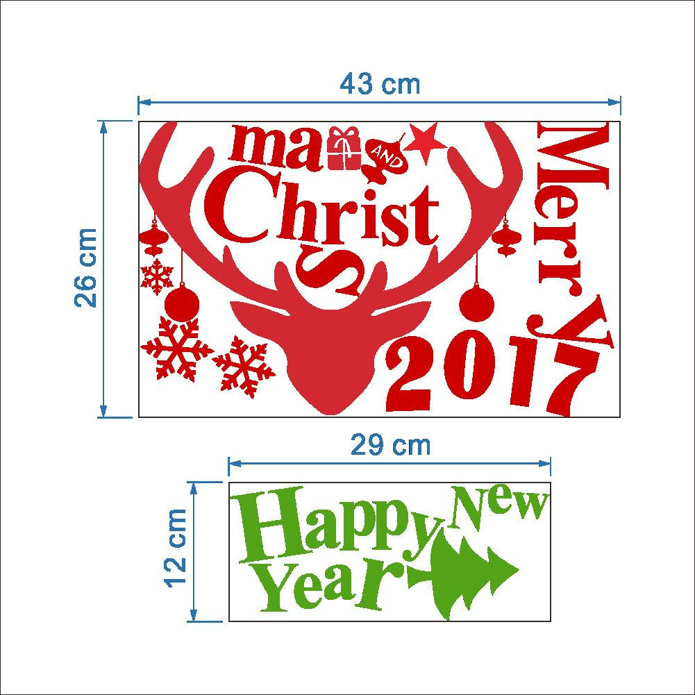 2017 Elk and characters Christmas Festival Removable Waterproof PVC Wall Sticker Home Decor Vinyl Window Sticker