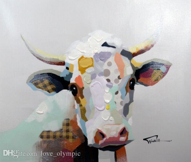 Enmarcado, R377 # Puro Pintado a mano Arte abstracto moderno Pintura al óleo CUTE COW FARM ANIMALS, Sobre lienzo de alta calidad Decoración de la pared del hogar Tamaño múltiple