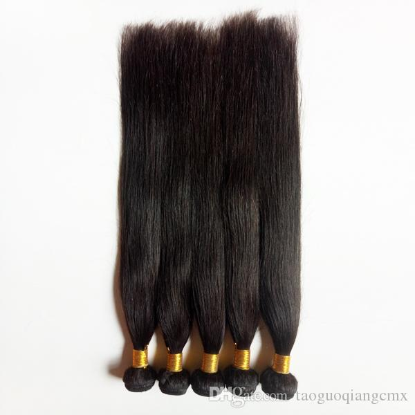 Brazilian Virgin Straight Hair for factory in bulk Natural Color and Black #1 #1b Unprocessed Indin remy hair weft extensions in stock