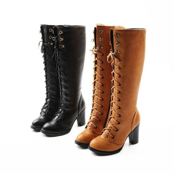 Wholesale-2015 new style women winter boots lace up over the knee lady high boots high thick heel shoes vintage punk female knight boots