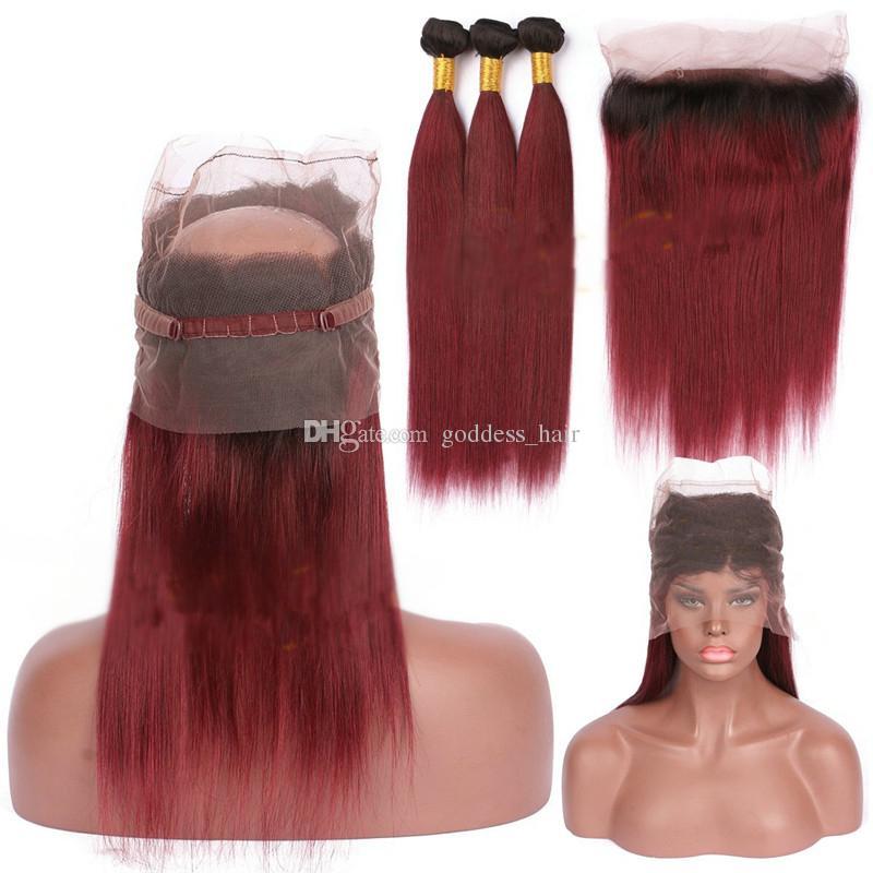 Ombre 1b 99j Paquetes Cabello liso Con 360 de encaje banda frontal oscuro Raíz vino tinto Virgen extensión del pelo con el cordón frontal 360