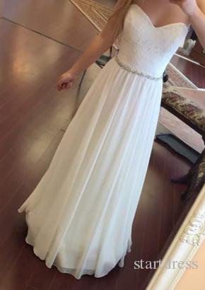 Najlepiej sprzedający Biały Szyfonowy Prom Dresses Długość Elegancka Długość Piętro Koronki Suknie Wieczorowe Tanie Formalne Dresses Sash Zroszony Party Prom Dress