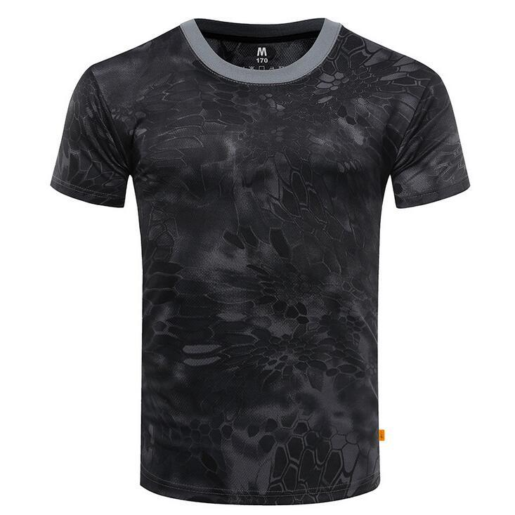 New Outdoor Hunting Camouflage T-shirt Men Breathable Army Tactical Combat T Shirt Military Dry Sport Camo Camp Tees-ACU Green