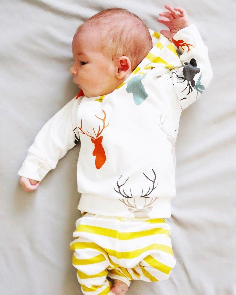 Automne Automne Nouveau-Né Bébé Garçon Filles Vêtements Mignon De Noël Tops Cerf À Capuche + Rayé Long Pantalon Outfit Enfants Vêtements Set