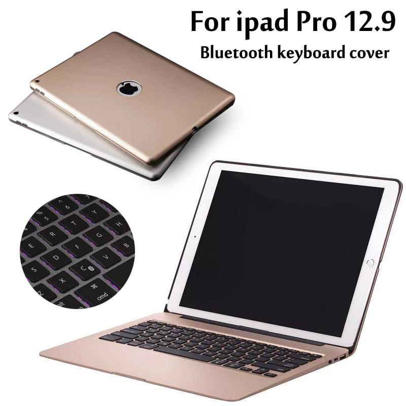 huge discount be2a2 96bfb Wholesale- Aluminum Keyboard Cover Case with 7 Colors Backlight Backlit  Wireless Bluetooth Keyboard & Power Bank For ipad pro 12.9 Gift
