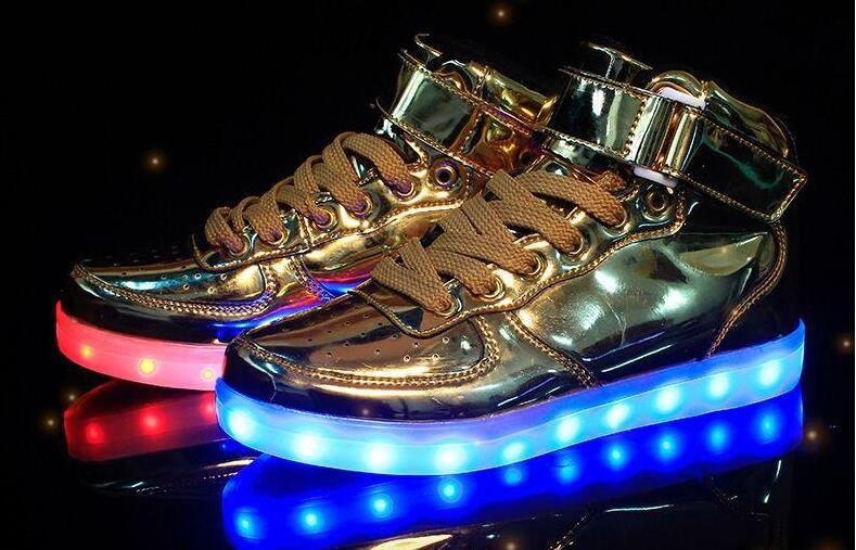 Couple Lace-up Led Light Casual Shoes Colorful Flash Shoes Breathable Sneakers Woman Sneakers With Rhinestones#g5 Shoes Men's Vulcanize Shoes