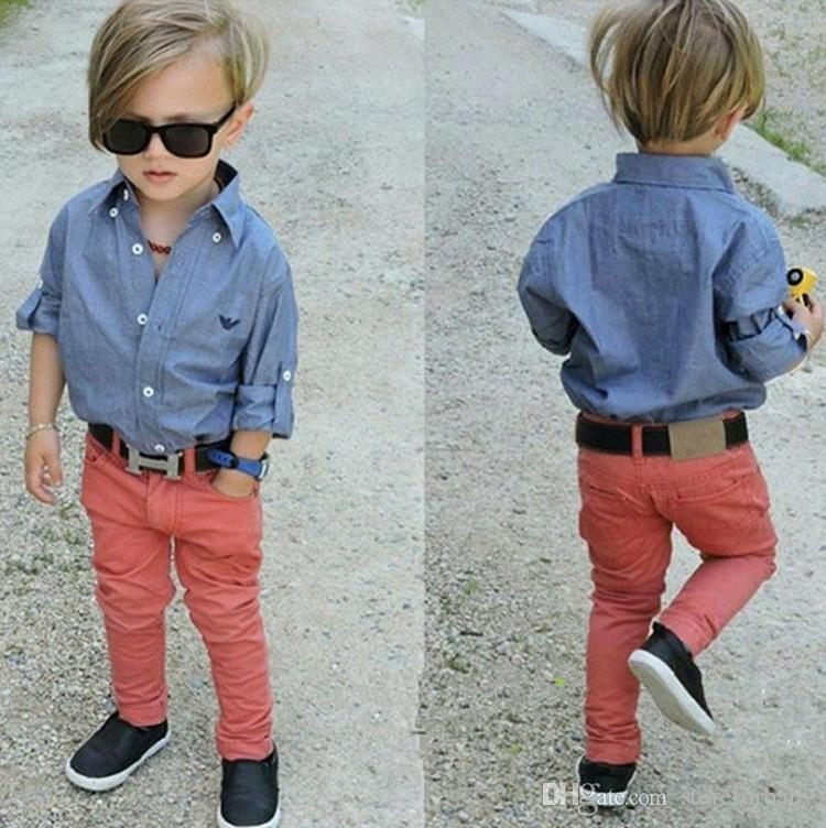 183e7092c0b8 Children Boys Fashion Gentleman Suit Long Sleeves Denim Shirt+jeans ...