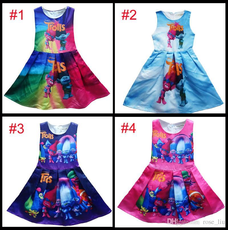 23103b2016 2019 4 Style Girl Trolls Poppy Branch Princess Dress Children High Quality  Cartoon Bowknot Sleeveless Vest Dresses Clothes B From Rose liu