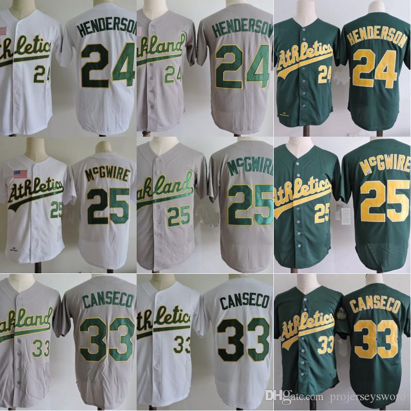 90a5f80ac9e ... 2017 Oakland Athletics Mens 24 Ricky Henderson 25 Mark Mcgwire Jersey  100% Stitched 1989 Throwback .