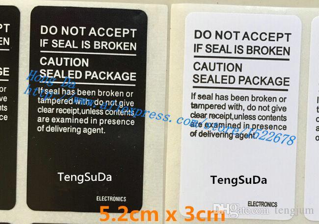 1000 pz / lotto 5.2 CM * 3.0 CM Seal Etichetta Adesiva SAMSUNG Galaxy S4 S5 S6 7 Note 5 J1 A3 pacchetto del Telefono scatola di tenuta striscia
