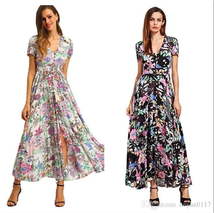 359fb926cf5 Floral Print Button Split Front Flare Beach Wear Boho Maxi Dress Women  Short Sleeve V Neck Long Dress Floral Dresses For Women Cocktail Dress Sale  From ...