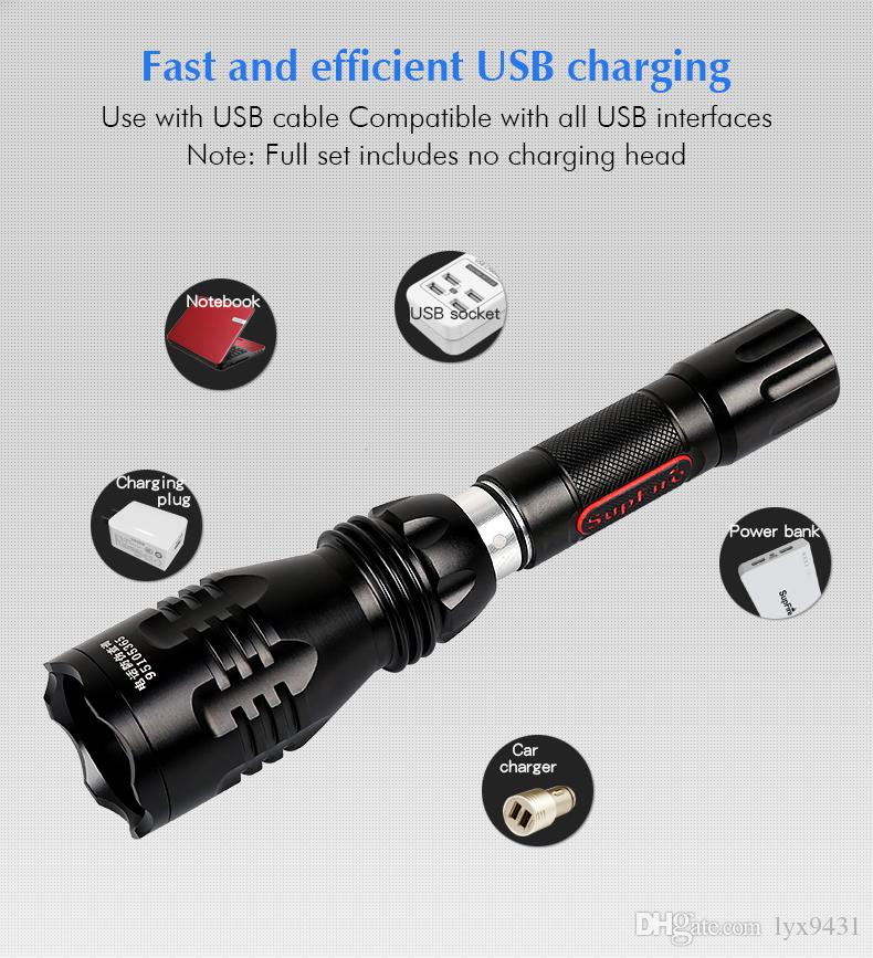 LED Flashlight Rechargeable USB Charging Car Charger 5 Modes Torch CREE XRE Q5 Super Bright Outdoor Sports Cycling Fishing Flash Light Lamp