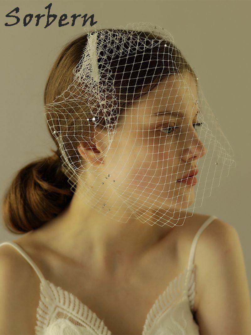 Sorbern Zarif Gelin Düğün Kısa Peçe Iplik Saç Aksesuarları Hairwear Zarif Gelinler Nişan Parti Pageant Romantik Güzel Takı