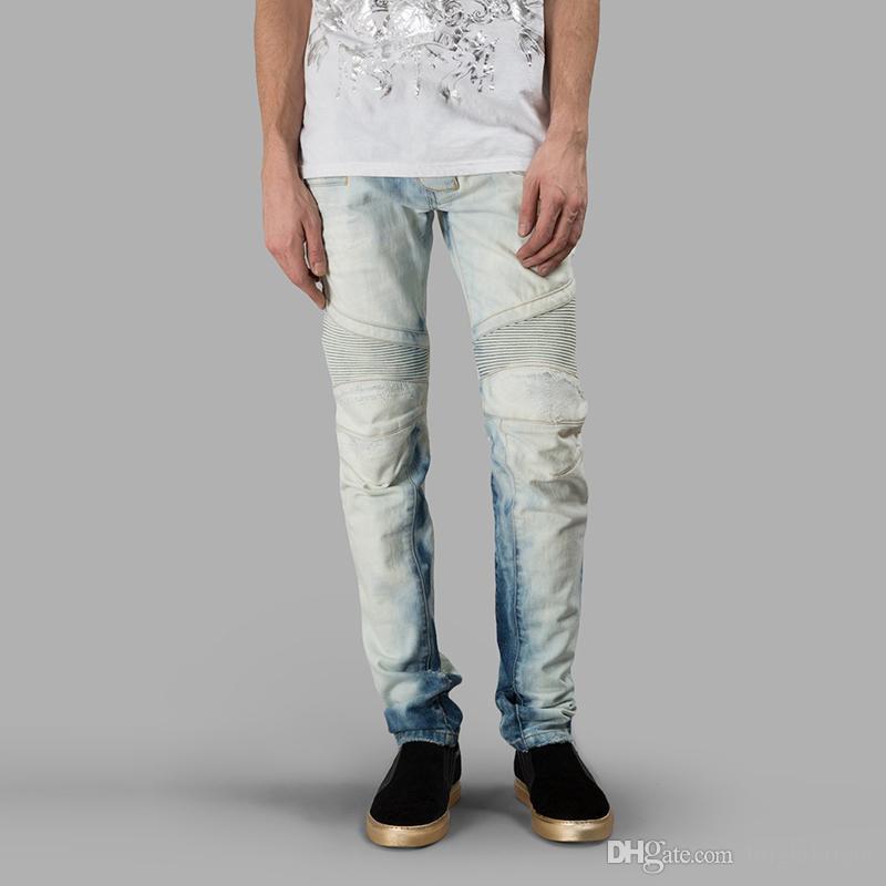 ca92edf002 Compre 2017 Moda Rasgado Pantalones Vaqueros Flacos Negros Personalidad De  Los Hombres Estilo Rock Pantalones De Jean Homme Pantalones Ajustados Para  ...