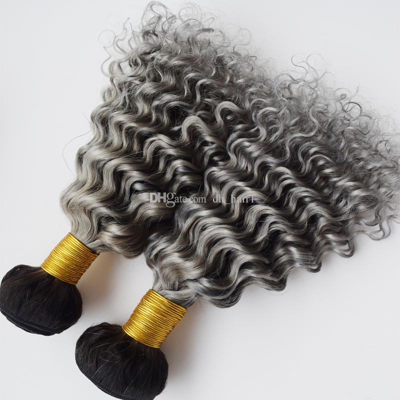 Radice scura Grigio Onda profonda Ombre Capelli tesse 1B Grigio Ombre Capelli vergini brasiliani tesse profonde estensioni dei capelli umani due ricci