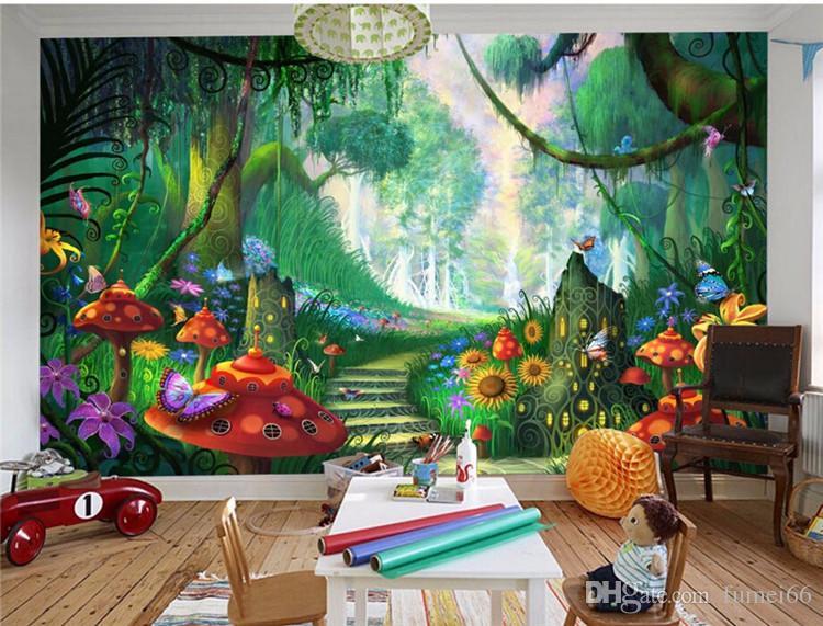 Benutzerdefinierte Tapete Fantasy Wald Bäume Gras Pilze Treppenweg  Kinderzimmer Wandbild Fototapete für Wände 3 d