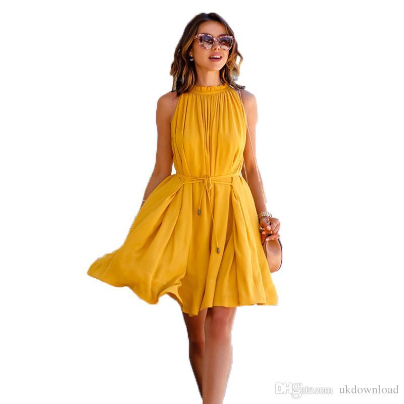 2019 2017 Summer Dress Casual Yellow Sleeveless Evening