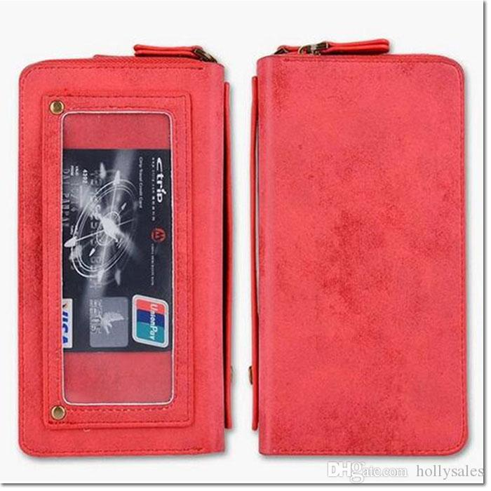 hot selling vintage ziper pu lether wallet cellphone case purse for women black brown red pink for iphone 6 6plus 7 7plus samsung s7 edge