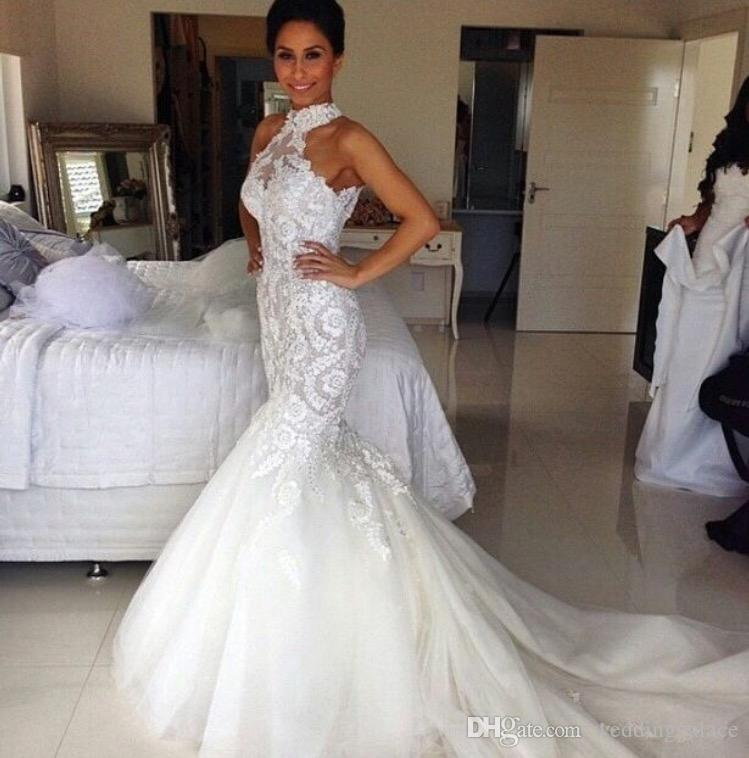 2018 Halter Neck Lace Mermaid Wedding Dresses Button Back Tulle Appliques Fashion Western Bridal Dresses Wedding Gowns Vestido De Novia Ivory Mermaid