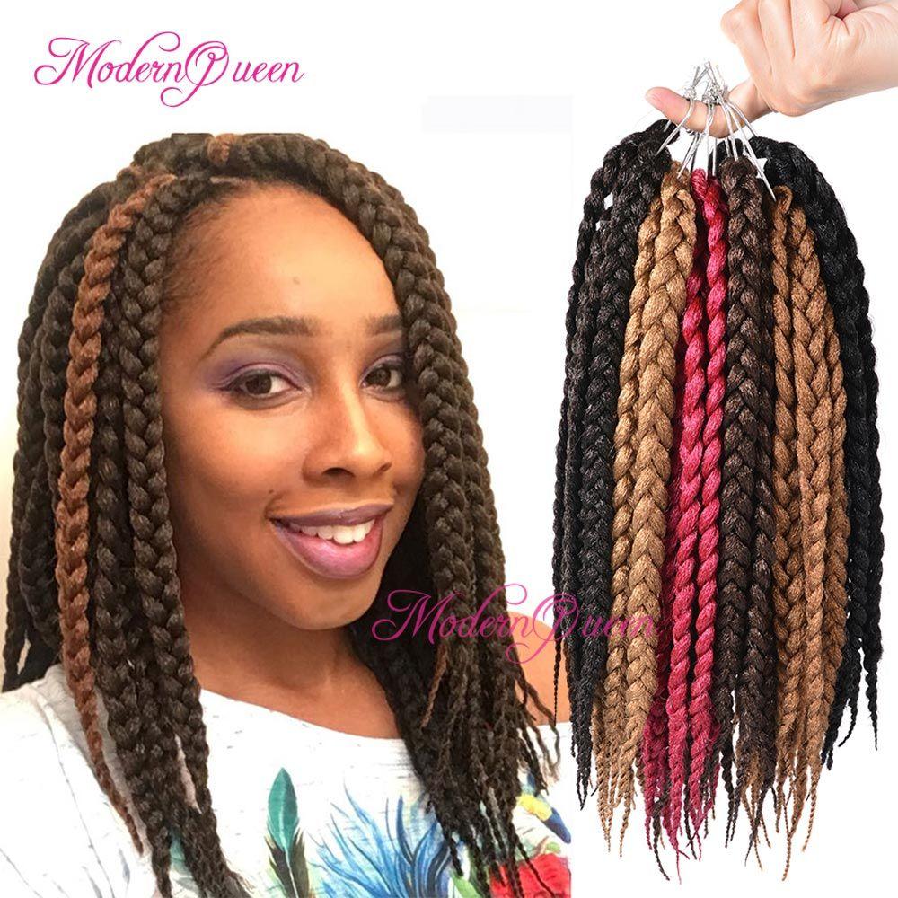 2018 12u0026#39;u0026#39; Box Braids Hair 80g/Pack 3s Freetress Crochet Box Braid Synthetic Senegalese Twist ...