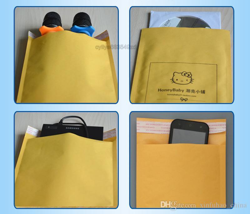 270mmx145mm/260mmx185mm/220mmx120mm destructive open self-sealing poly bubble Kraft paper envelope mailer bags