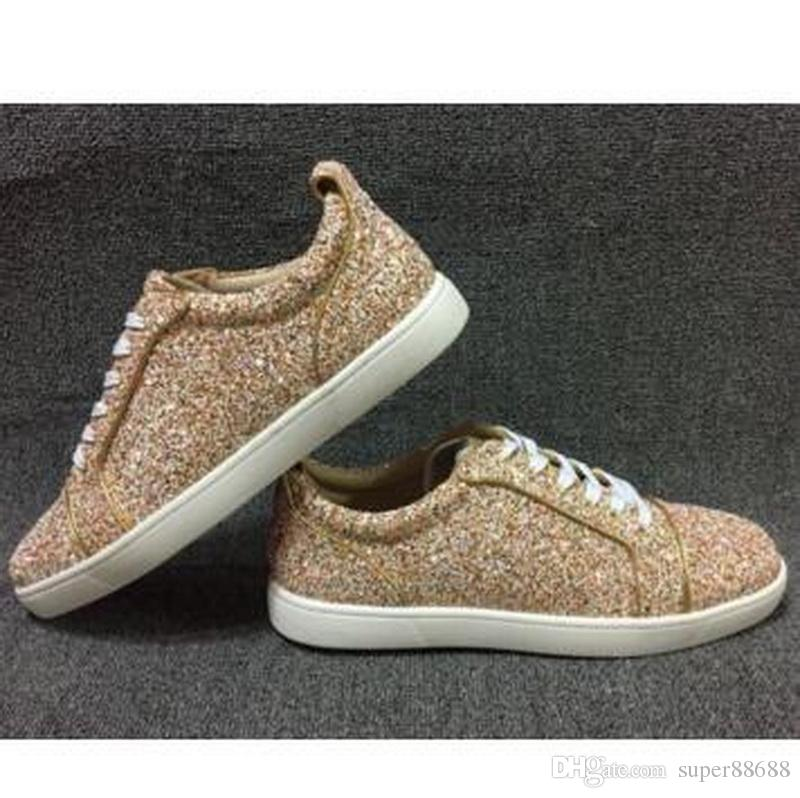2017 New Designer Brand Men Women Red Bottom Sneakers Colorful Glitter Low  Top Casual Shoes cdb8d0a649