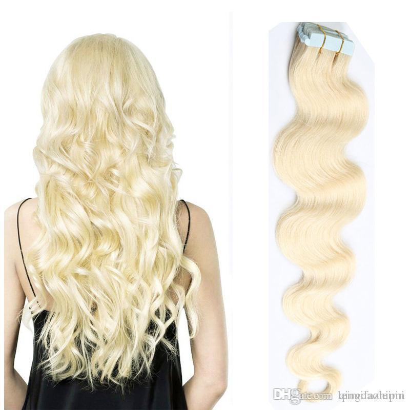 Factory Price Body Wave Tape In Hair Extensions 613 Bonde Brazilian