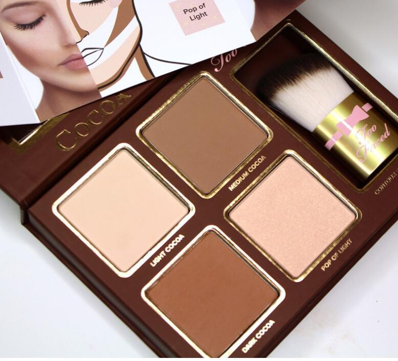 STOCK Makeup COCOA Contour Highlighters Palette Nude Color Face Concealer Chocolate Eyeshadow with Contour Buki Brush DHL Shipping
