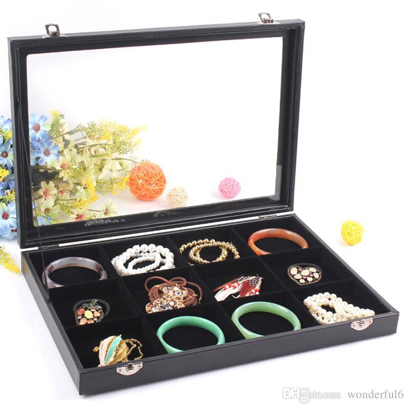 Fashion Black 12 Grids Jewelry Storage Box Bracelet Case Bangle Holder Watch Display Necklace Pendants Shelf With Glass Cover