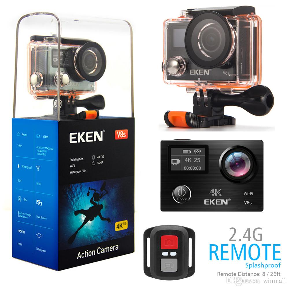 Original EKEN V8s Real 4K Ultra-HD Video Action Camera Aluminum Alloy Body Electronic Image Stabilization 2.4G Remote Control 30M Waterproof