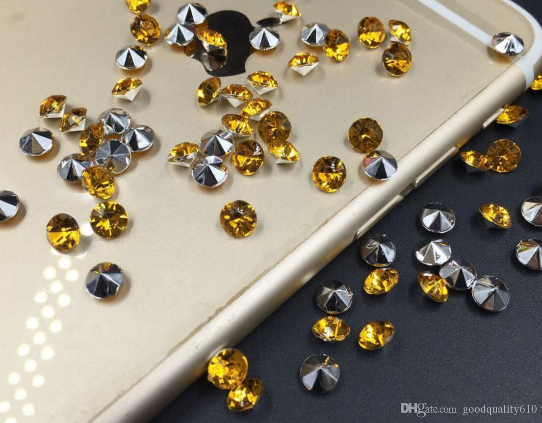 4mm Amarelo Acrílico Diamante Confetti Wedding Party Table Scatters Decoração De Cristal